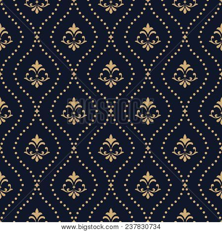 Floral Pattern. Vintage Wallpaper In The Baroque Style. Seamless Vector Background. Dark Blue And Go