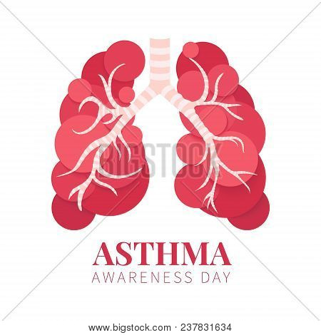Asthma Awareness Day Poster With Lungs Made Of Bubbles On White Background. Bronchial Disease Symbol