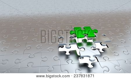 3d Illustration Of One Green Puzzle Piece Escaping From Four Other Silver Pieces Above White Hole