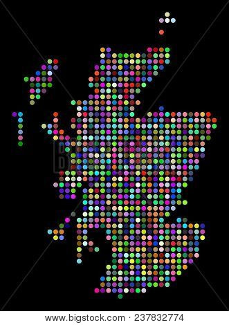 Colored Dotted Scotland Map. Vector Geographic Map In Bright Colors On A Dark Background. Multicolor