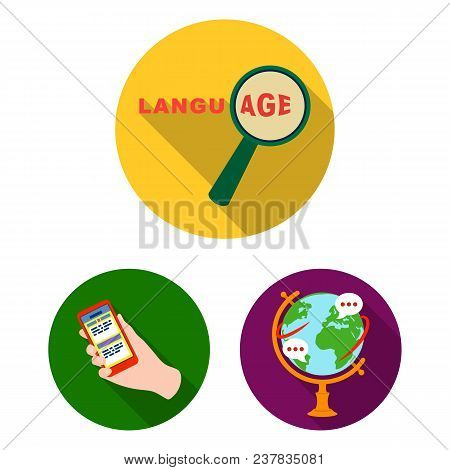 Translator And Linguist Flat Icons In Set Collection For Design. Interpreter Vector Symbol Stock  Il