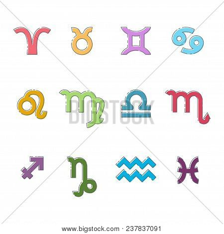 Zodiac Sign. Vector Flat Linear Set Of Colored Icons Of Astrological Symbols Isolated On White Backg