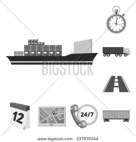 Logistics Service Monochrome Icons In Set Collection For Design. Logistics And Equipment Vector Symb