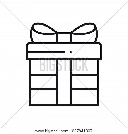 Gift Box With Ribbon Line Icon. Present, Giftbox. Party Celebration Birthday Holidays Theme. Sign An