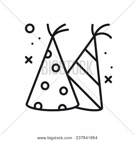 Party Cone Hats Icon. Party Celebration Birthday Holidays Event Carnival Festive. Thin Line Party Ba
