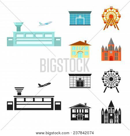 Airport, Bank, Residential Building, Ferris Wheel.building Set Collection Icons In Cartoon, Black St