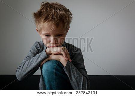 Sad Child, Stress And Depression, Scared And Alone