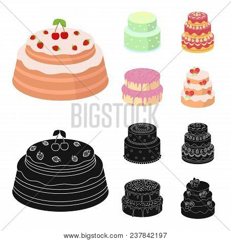 Sweetness, Dessert, Cream, Treacle .cakes Country Set Collection Icons In Cartoon, Black Style Vecto
