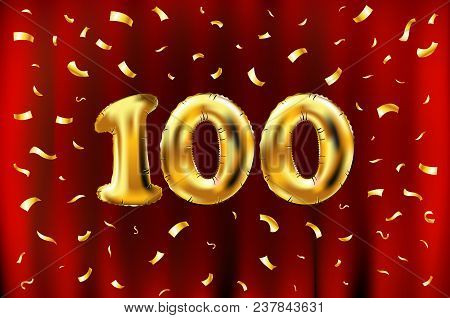 Vector 100Th Celebration Gold Balloons And Golden Confetti Glitters. 3D Illustration Design For Your