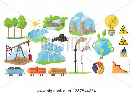 Types Of Natural Resources For Producing Eco Energy. Solar Panels, Wind Turbines, Hydrostation, Coal