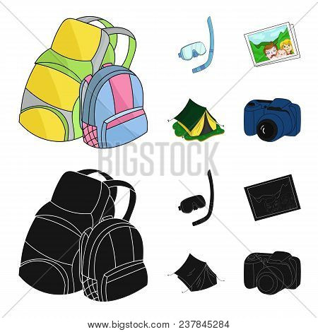 Travel, Vacation, Backpack, Luggage .family Holiday Set Collection Icons In Cartoon, Black Style Vec
