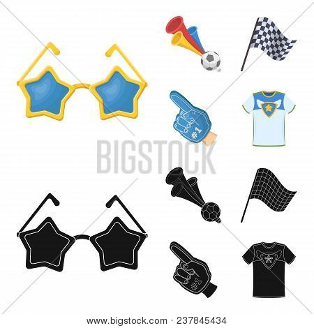 Pipe, Uniform And Other Attributes Of The Fans.fans Set Collection Icons In Cartoon, Black Style Vec