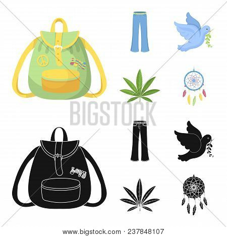 A Cannabis Leaf, A Dove, Jeans, A Backpack.hippy Set Collection Icons In Cartoon, Black Style Vector