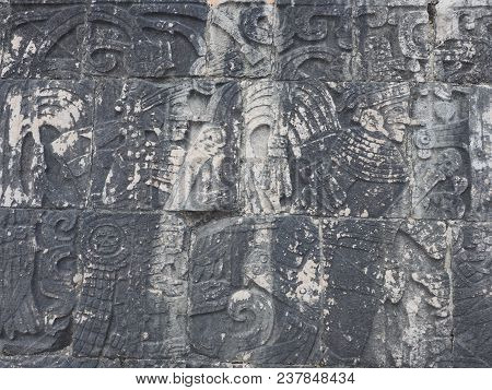 Ancient Mayan Stony Relief With Pictograph At Ruins Of Chichen Itza City In Mexico, Most Impressive