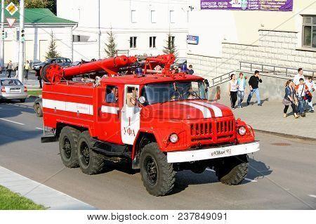 Ufa, Russia - September 12, 2009: Old Fire Truck Zil-131 In The City Street.