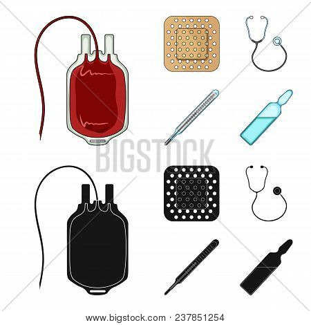 Package With Donor Blood And Other Equipment.medicine Set Collection Icons In Cartoon, Black Style V