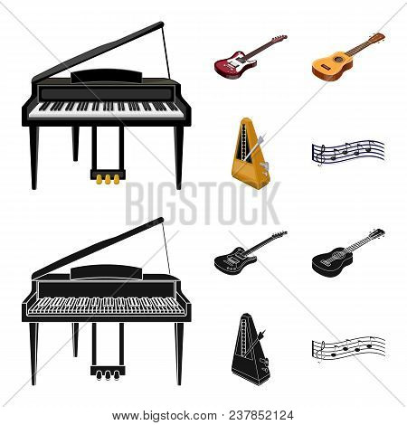 Musical Instrument Cartoon, Black Icons In Set Collection For Design. String And Wind Instrument Iso