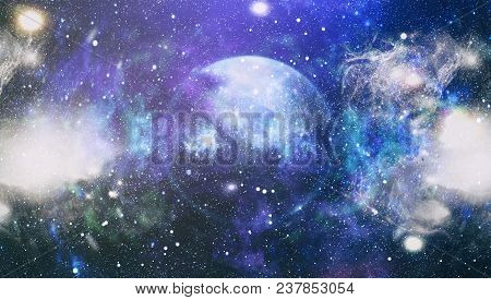 Deep Space Background With Stardust And Shining Star. Milky Way Cosmic Background. Star Dust And Pix