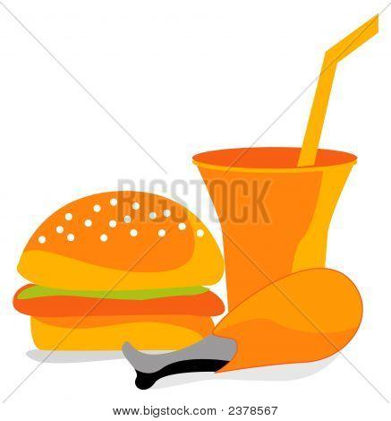 Burger Chicken And Drink
