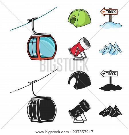 Funicular, Tent, Road Sign, Snow Cannon. Ski Resort Set Collection Icons In Cartoon, Black Style Vec