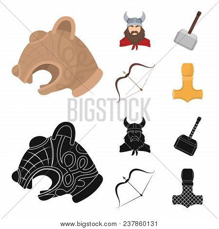 Viking In Helmet With Horns, Mace, Bow With Arrow, Treasure. Vikings Set Collection Icons In Cartoon