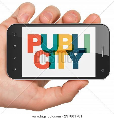 Advertising Concept: Hand Holding Smartphone With Painted Multicolor Text Publicity On Display, 3d R
