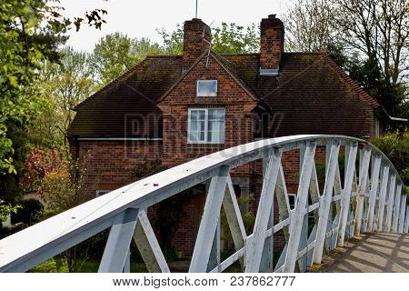 Spring In England. White Bridge On The River. Reading. Berkshire.