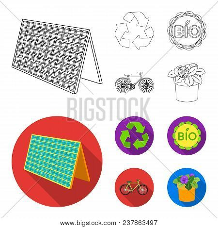 Bio Label, Eco Bike, Solar Panel, Recycling Sign.bio And Ecology Set Collection Icons In Outline, Fl