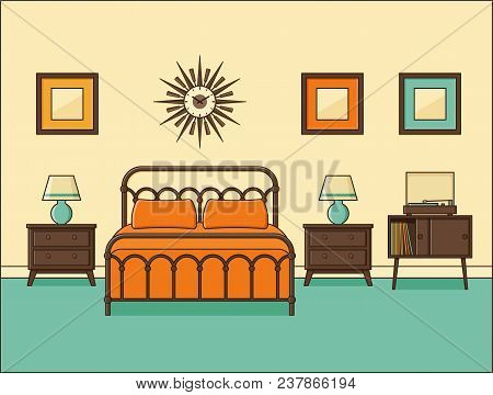 Bedroom Interior. Hotel Room In Retro Design With Bed. Vector. Home Flat Space In Line Art. Linear I