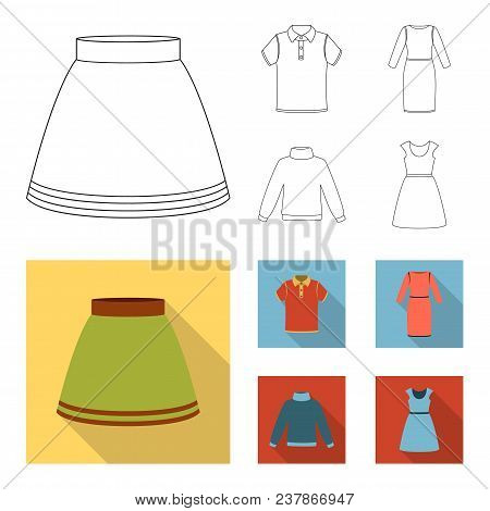 Skirt, T-shirt, Sweater, Dress With Long Sleeves.clothing Set Collection Icons In Outline, Flat Styl