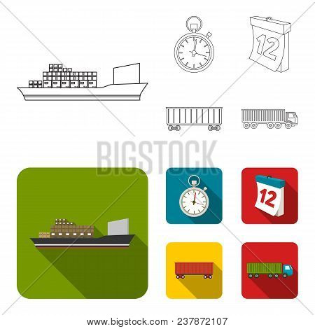 Cargo Ship, Stop Watch, Calendar, Railway Car.logistic, Set Collection Icons In Outline, Flat Style