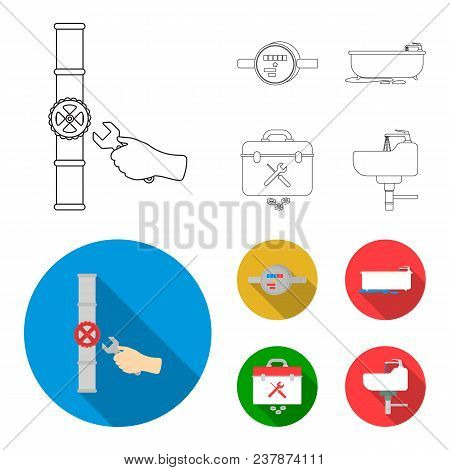 Water Meter, Bath And Other Equipment.plumbing Set Collection Icons In Outline, Flat Style Vector Sy