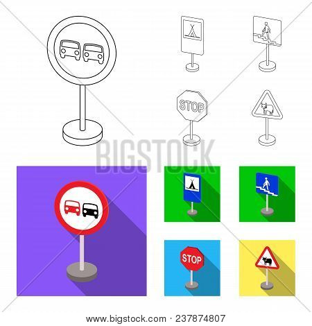 Different Types Of Road Signs Outline, Flat Icons In Set Collection For Design. Warning And Prohibit