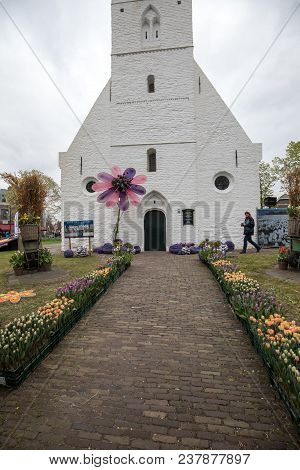 Noordwijkerhout, Netherlands - April 21,  2017:  Floristic Decorations  At The Traditional Flowers P