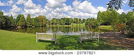 Lake And Bench Panorama