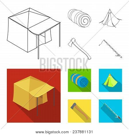 Tent With Awning, Ax And Other Accessories.tent Set Collection Icons In Outline, Flat Style Vector S