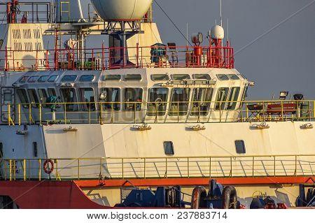 View Of Bridge & Navigation Station Platform Supply Vessel (psv) Offshore Support Vessel.