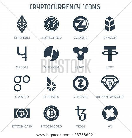 Cryptocurrency Icons Isolated On White Background. Bitcoin Ethereum Electroneum Zclassic Bancor Sibc