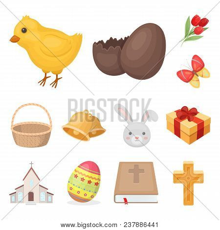 Easter Is A Christian Holiday Cartoon Icons In Set Collection For Design. Easter Attributes Vector S
