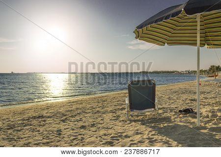 The Most Beautiful Sandy Beaches Of Apulia.salento Coast: Shoreline At Sunset.porto Cesareo Skyline.
