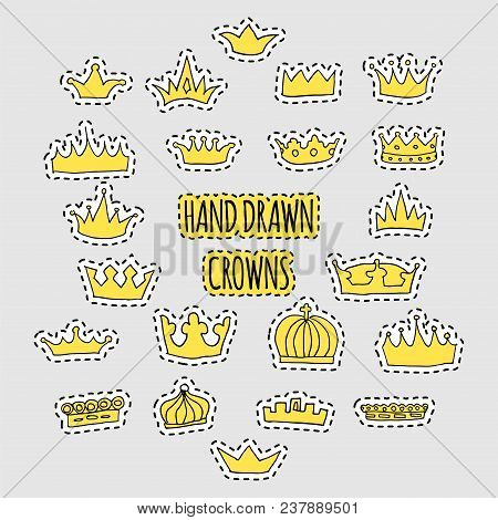 Hand Drawn Golden Crown Patch Set. Stock Vector Illustration Of Royal Symbol For Trendy Patches, Fas