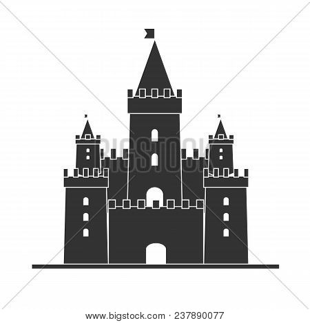 Medieval Castle Icon Vector. Castle Tower Silhouette In A Flat Style. Knights, Royal, Princess Castl