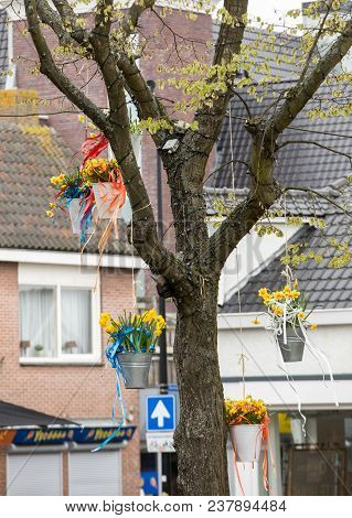 Noordwijkerhout, Netherlands - April 23,  2017: Decorations With Hanging Pails With Yellow Daffodils