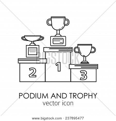 Prize And Award Icon Set. Prize And Award. Stock Vector Illustration Of Trophy, Cup Standing On A Pe