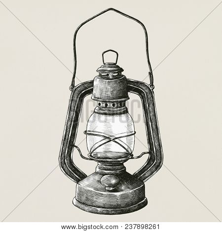 Hand drawn retro portable lantern