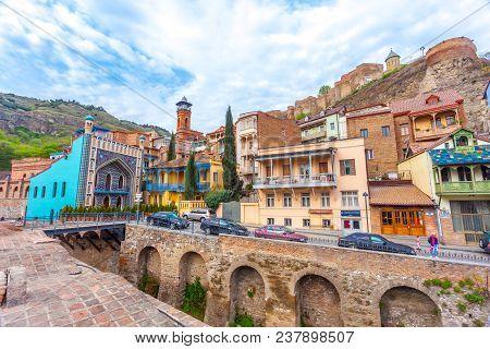 13.04.2018 Tbilisi, Georgia - Architecture Of The Old Town Of Tbilisi, Georgia, In Abanotubani Area.