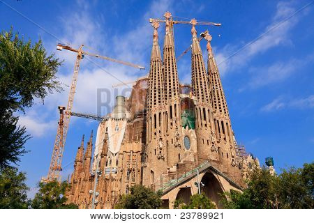 BARCELONA, SPAIN - SEPT 14: La Sagrada Familia - impressive cathedral designed by Gaudi, which is being build since 19 March 1882 and is not finished yet September 14, 2011 in Barcelona, Spain