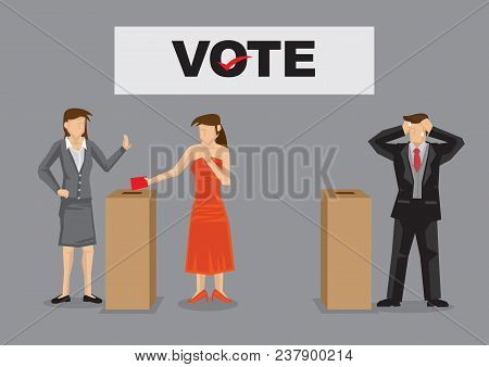 Female Voter Cast Her Vote Into Ballot Box For Female Candidate And Male Candidate Feeling Stressed.