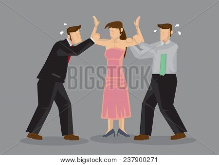 Popular Woman With Two Desperate Male Suitors Grabbing Her. Vector Cartoon Illustration On  Concept
