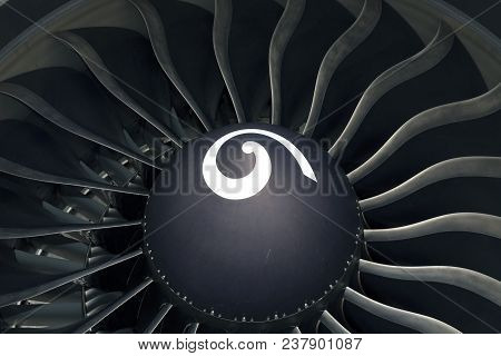 Modern General Electric Airplane Engine Of The Boeing 777. Closeup